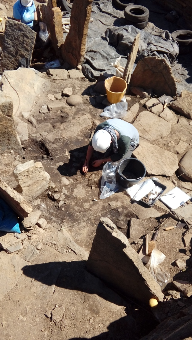 Today's blogger Conal digging in the South quadrant of the broch